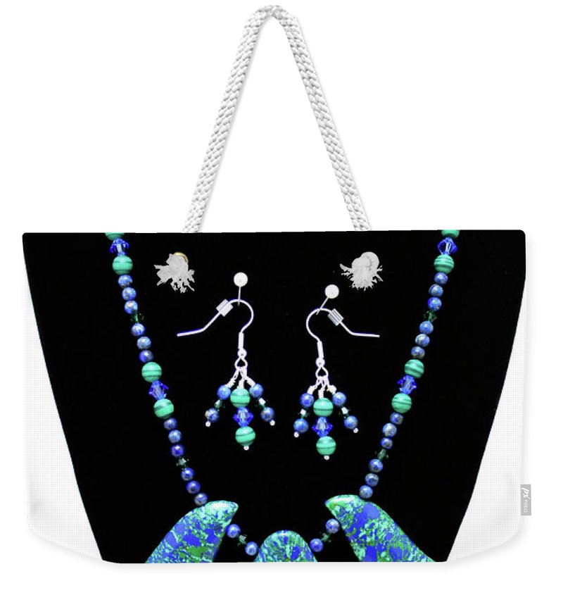 Jewelry Weekender Tote Bag featuring the jewelry 3582 Lapis Lazuli Malachite Necklace And Earring Set by Teresa Mucha