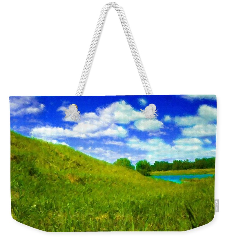 Nature Weekender Tote Bag featuring the digital art Pictures Of Oil Paintings Landscape by Usa Map