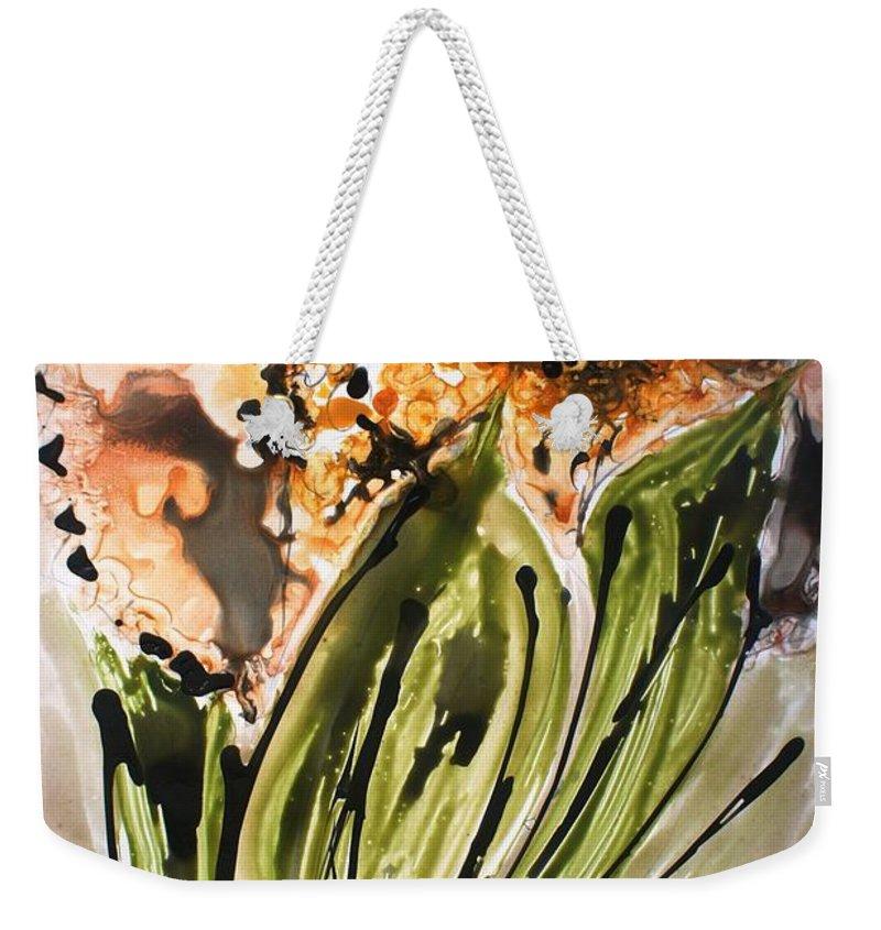 Flowers Weekender Tote Bag featuring the painting Divine Blooms by Baljit Chadha