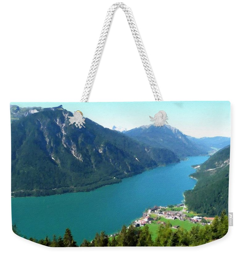At Weekender Tote Bag featuring the digital art C Landscape by Usa Map