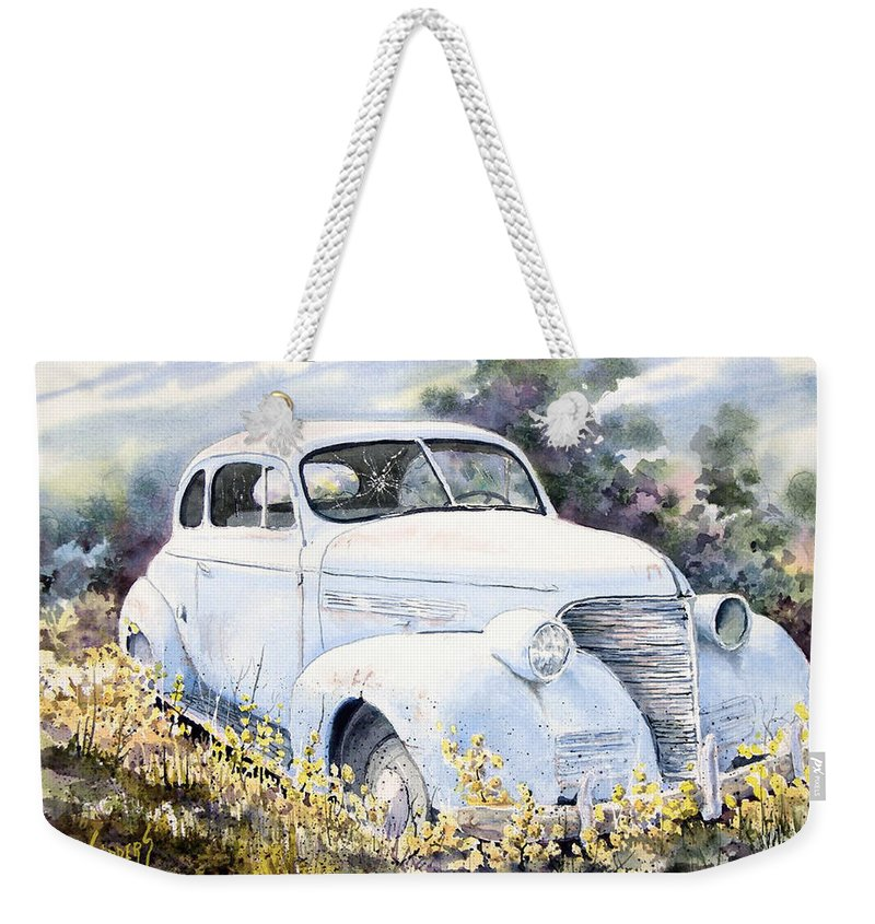 Automobile Weekender Tote Bag featuring the painting 39 Chevy by Sam Sidders