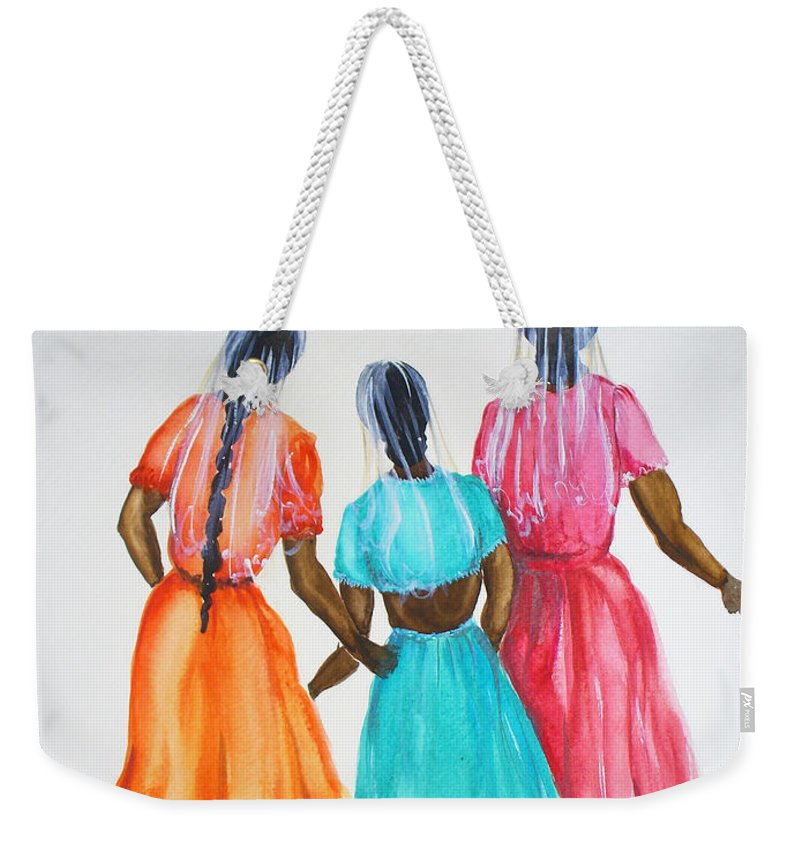 Three Ladies East Indian Weekender Tote Bag featuring the painting 3bff by Karin Dawn Kelshall- Best