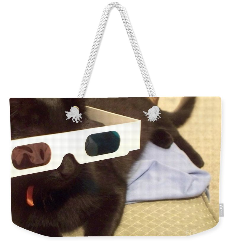 3d Weekender Tote Bag featuring the photograph 3d Cat by Eric Schiabor