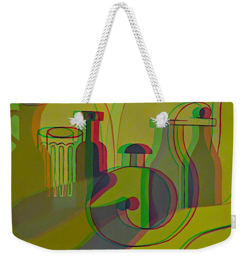 3d Weekender Tote Bag featuring the painting 3d Stereo Cubism - Use Red-cyan 3d Glasses by Brian Wallace