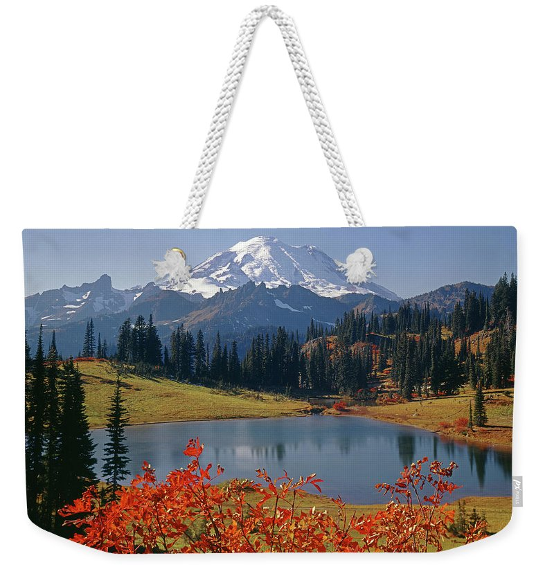 Tipsoo Lake Weekender Tote Bag featuring the photograph 3m4824 Tipsoo Lake And Mt. Rainier H by Ed Cooper Photography