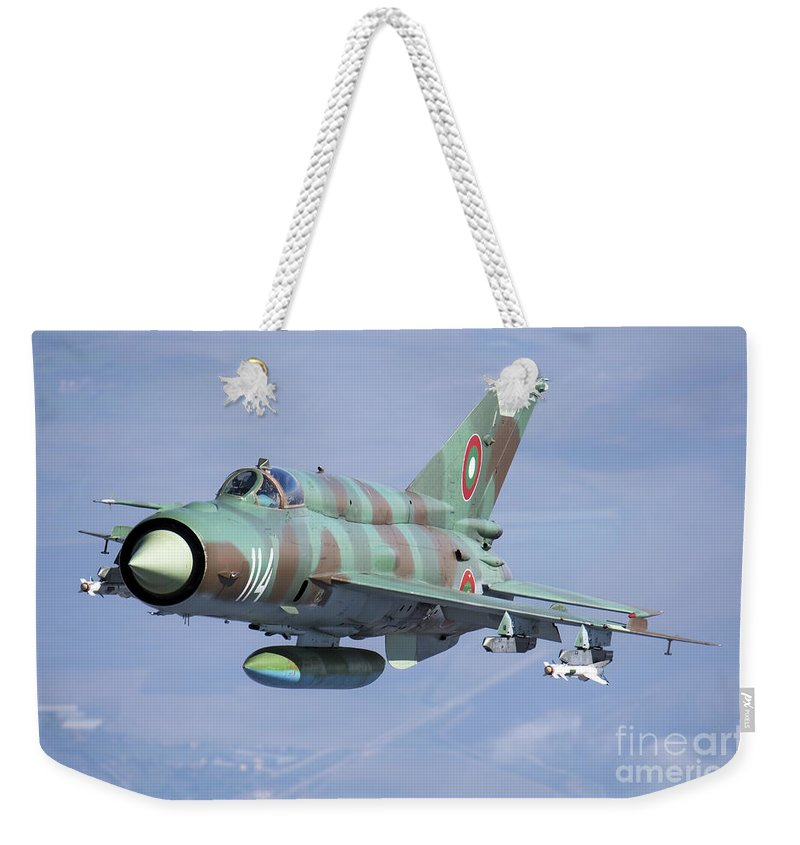 Bulgaria Weekender Tote Bag featuring the photograph A Bulgarian Air Force Mig-21bis Armed by Daniele Faccioli
