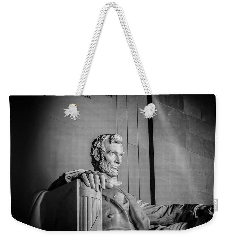 Patriotic Weekender Tote Bag featuring the photograph Abraham Lincoln Memorial In Washington Dc Usa by Alex Grichenko