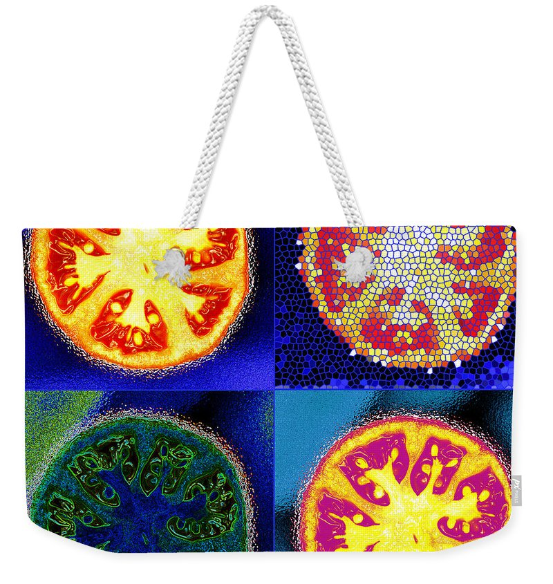 Tomatoes Weekender Tote Bag featuring the photograph 4 Abstract Tomatoes by Nancy Mueller