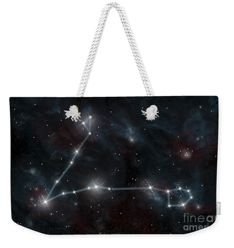 Alpha Piscium Weekender Tote Bag featuring the digital art Artists Depiction Of The Constellation by Marc Ward