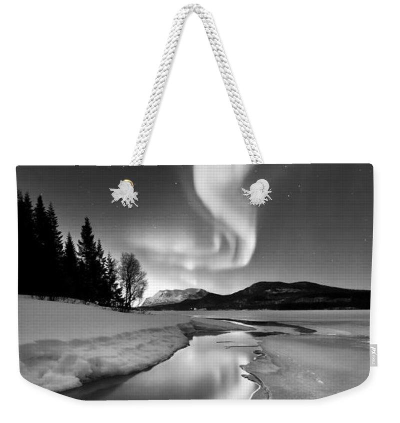 Aurora Borealis Weekender Tote Bag featuring the photograph Aurora Borealis Over Sandvannet Lake by Arild Heitmann