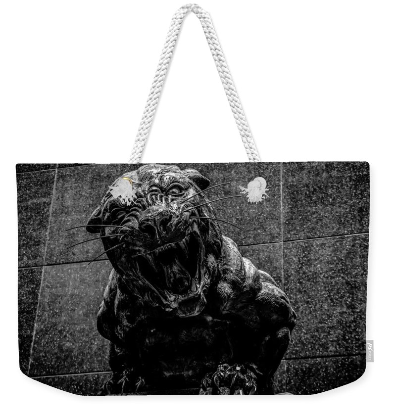 Cat Weekender Tote Bag featuring the photograph Black Panther Statue by Alex Grichenko