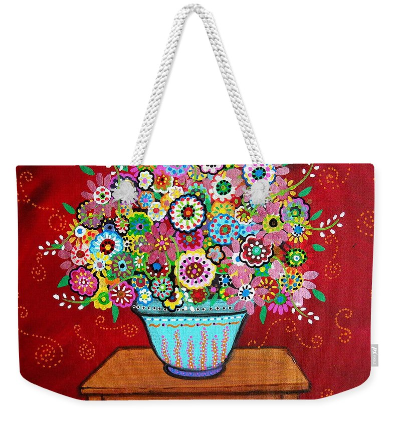 Flower Weekender Tote Bag featuring the painting Blooms by Pristine Cartera Turkus