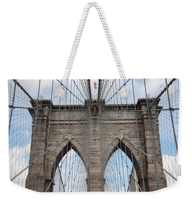 Poster Weekender Tote Bag featuring the photograph Brooklyn Bridge - New York City by Frank Romeo