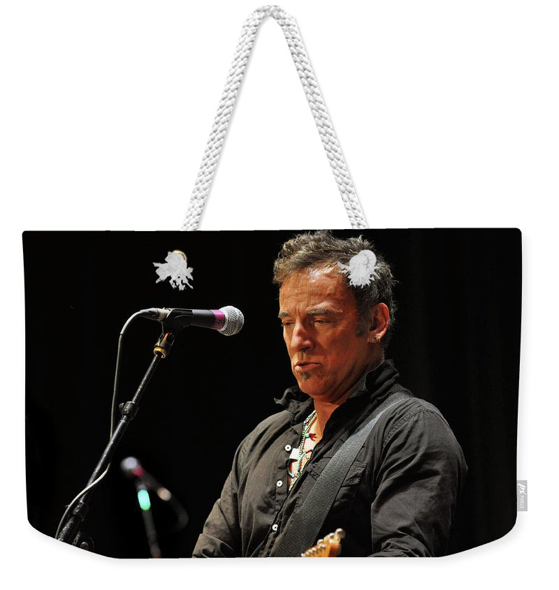 Springsteen Weekender Tote Bag featuring the photograph Bruce Springsteen by Jeff Ross