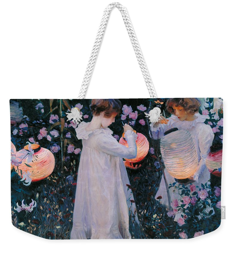Sargent Weekender Tote Bag featuring the painting Carnation Lily Lily Rose by John Singer Sargent