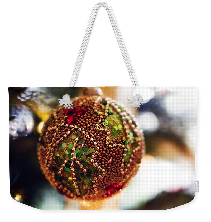 Christmas Card Xmas Tree Pine Spruce Decorations Ribbon Baubles Fairy Lights Needles Victorian Weekender Tote Bag featuring the photograph Christmas Tree Decorations by Mal Bray