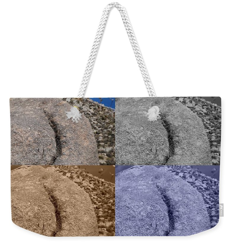Sepia Weekender Tote Bag featuring the photograph 4 Crack Rocks New Mexico by Rob Hans