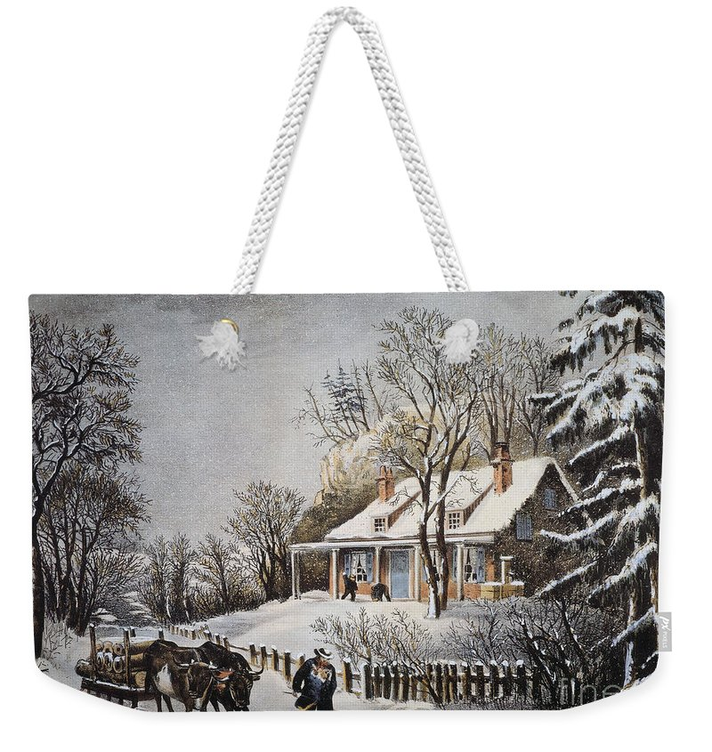 1860 Weekender Tote Bag featuring the photograph Currier & Ives: Winter Scene by Granger