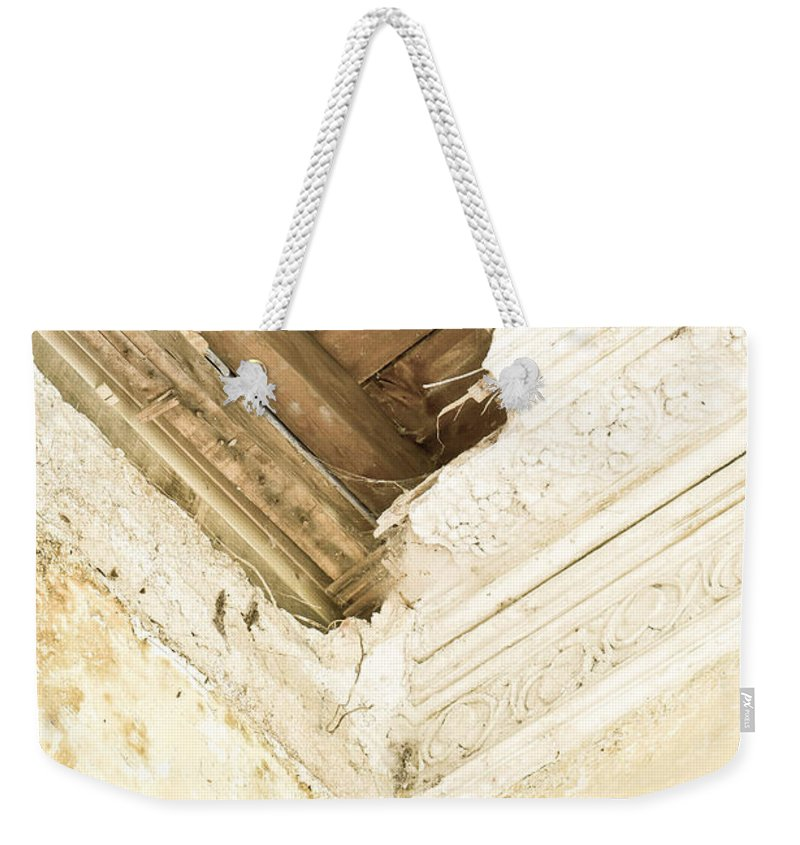 Abandoned Weekender Tote Bag featuring the photograph Damaged Celing by Tom Gowanlock
