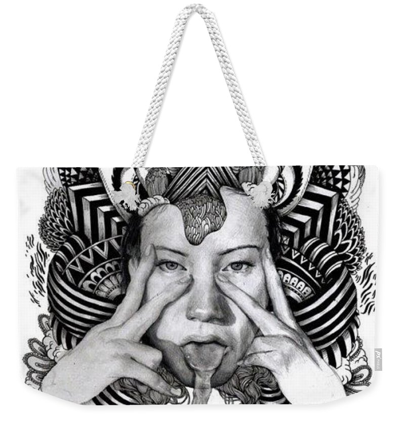 Darknes Weekender Tote Bag featuring the drawing Darkness Of Women by Yudhit Hadi