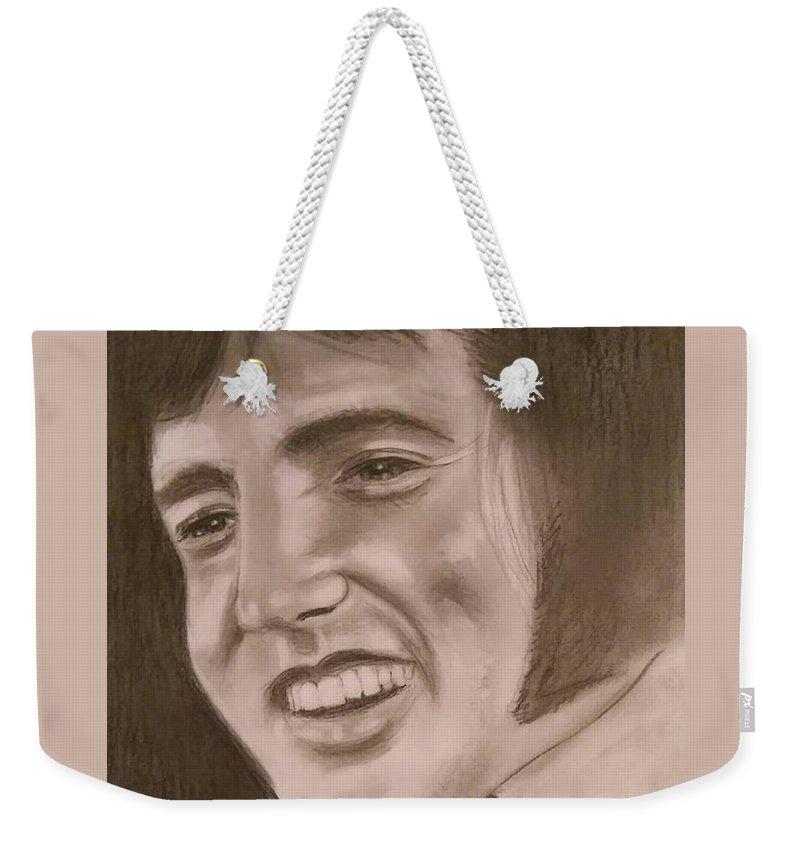 Elvis Weekender Tote Bag featuring the drawing Elvis by Paul Blackmore