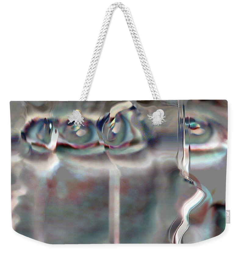 Eyes Abstract Spooky Grey Gray Weird Faces Weekender Tote Bag featuring the photograph 4 Eyes by Andrea Lawrence
