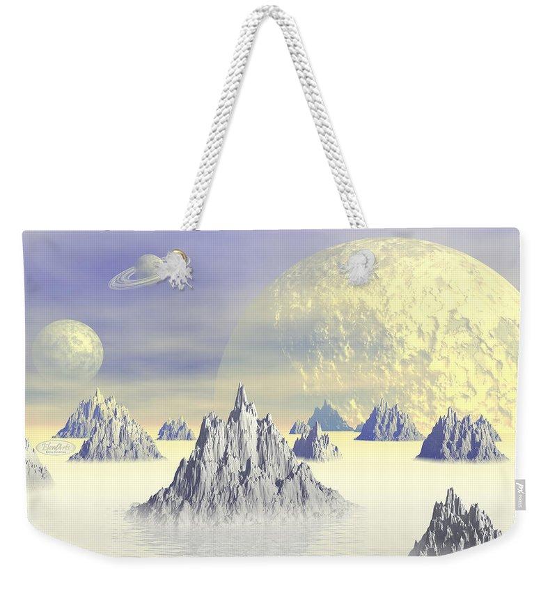 Alien Weekender Tote Bag featuring the digital art Fantasy Landscape by Elenarts - Elena Duvernay Digital Art