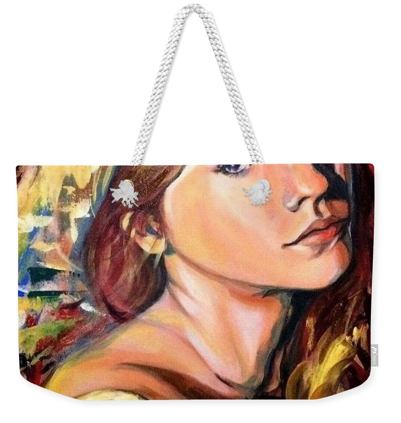 Weekender Tote Bag featuring the painting Girl by Niti Is a painter