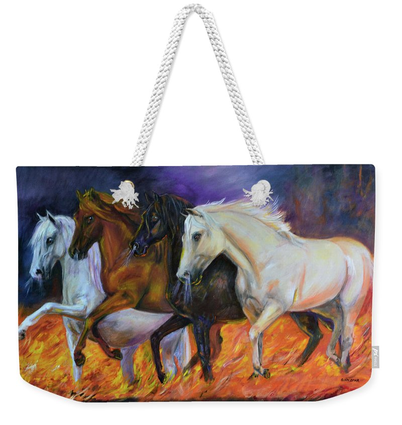 Horse Weekender Tote Bag featuring the painting 4 Horses Of The Apocalypse by Olga Kaczmar
