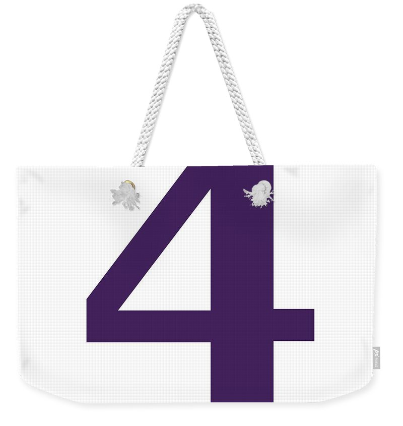 4 Weekender Tote Bag featuring the digital art 4 In Purple Typewriter Style by Custom Home Fashions