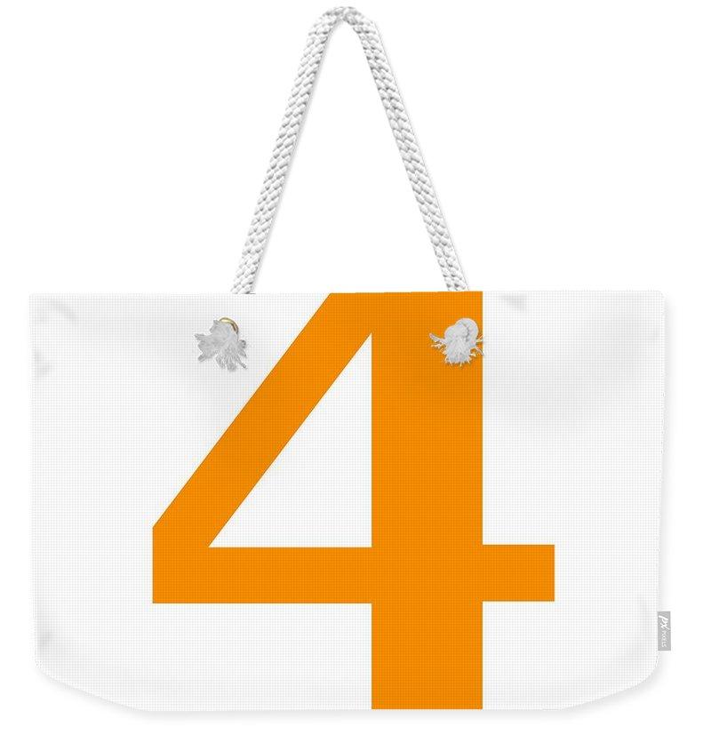 4 Weekender Tote Bag featuring the digital art 4 In Tangerine Typewriter Style by Custom Home Fashions