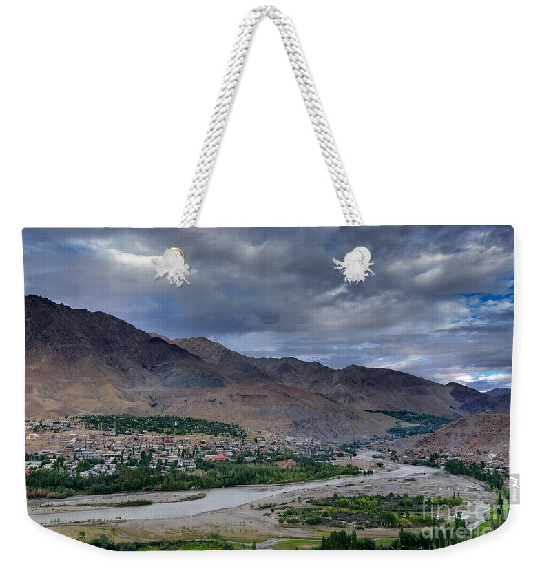 Top Weekender Tote Bag featuring the photograph Indus River And Kargil City Leh Ladakh Jammu Kashmir India by Rudra Narayan Mitra