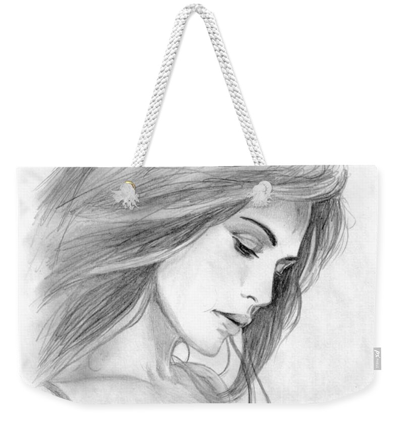 Girl Weekender Tote Bag featuring the drawing 4 by Kristopher VonKaufman