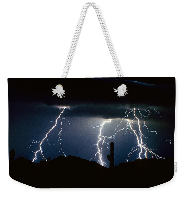 Landscape Weekender Tote Bag featuring the photograph 4 Lightning Bolts Fine Art Photography Print by James BO Insogna