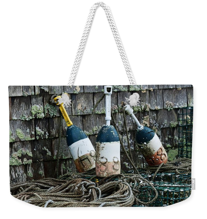 Cc2011 Weekender Tote Bag featuring the photograph Lobster Buoys by John Greim