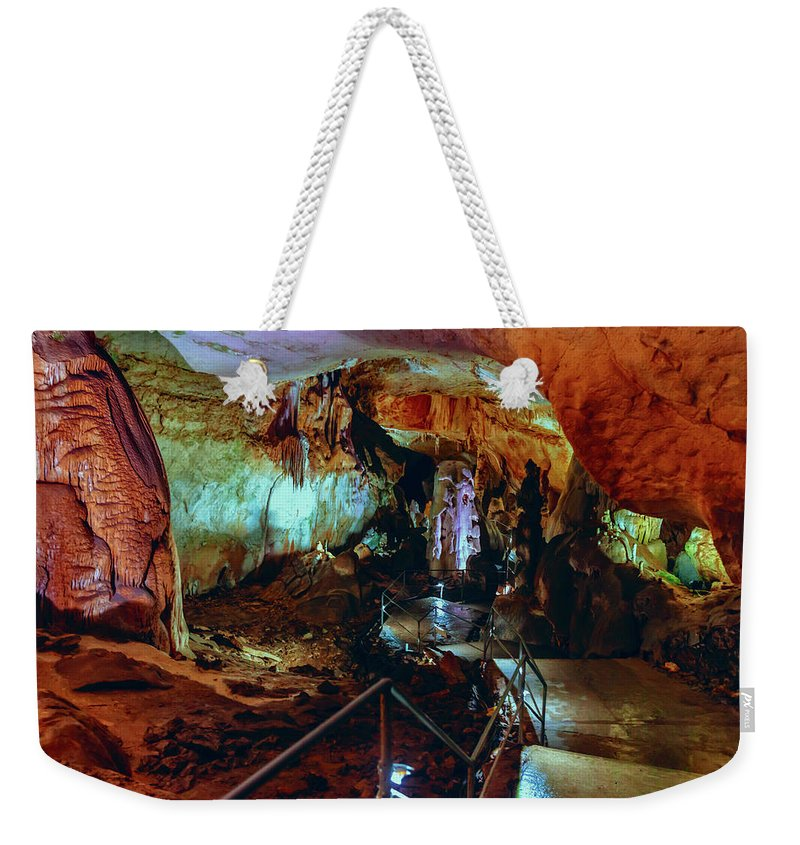 Cave Weekender Tote Bag featuring the photograph Marble Cave Crimea by Sergey Nosov
