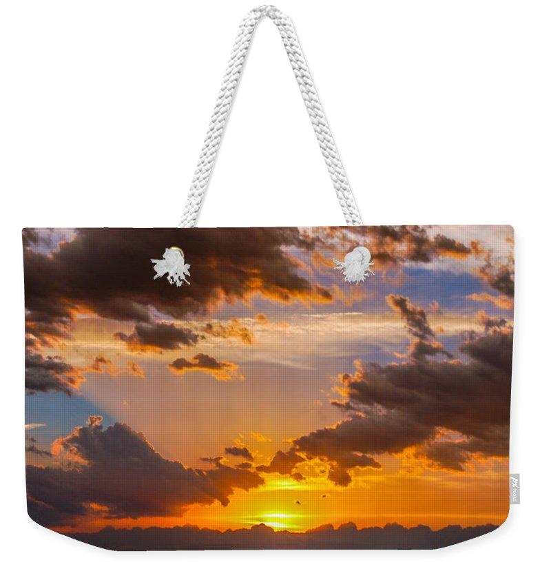 Nebraskasc Weekender Tote Bag featuring the photograph Nebraska Hp Supercell Sunset by NebraskaSC