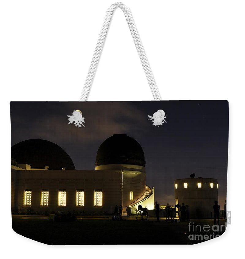 Clay Weekender Tote Bag featuring the photograph Night At Griffeth Observatory by Clayton Bruster