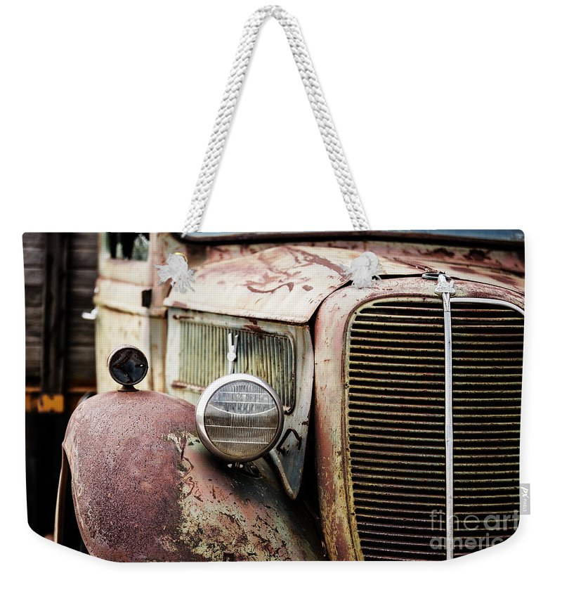 Ford Weekender Tote Bag featuring the photograph Old Farm Ford - Pov 1 by Scott Pellegrin