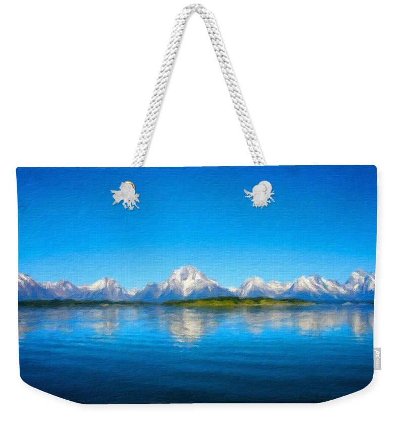 Landscape Weekender Tote Bag featuring the digital art Painting Landscape by Usa Map