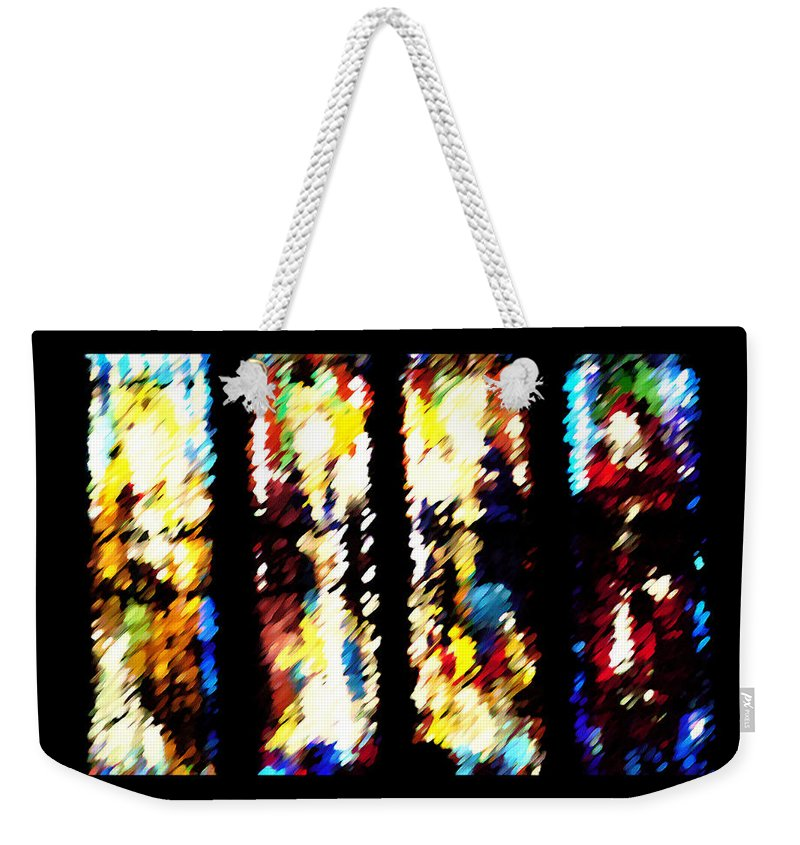 Abstract Weekender Tote Bag featuring the digital art 4 Panels Of Seville Abstract by Donna Corless