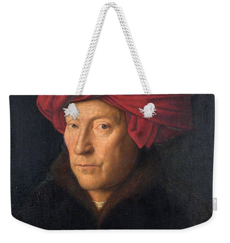 Portrait Of A Man Weekender Tote Bag featuring the painting Portrait Of A Man by Jan van Eyck