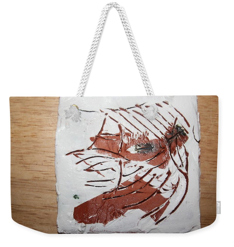Jesus Weekender Tote Bag featuring the ceramic art Rest - Tile by Gloria Ssali