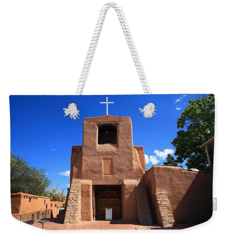 66 Weekender Tote Bag featuring the photograph Santa Fe - San Miguel Chapel 4 by Frank Romeo