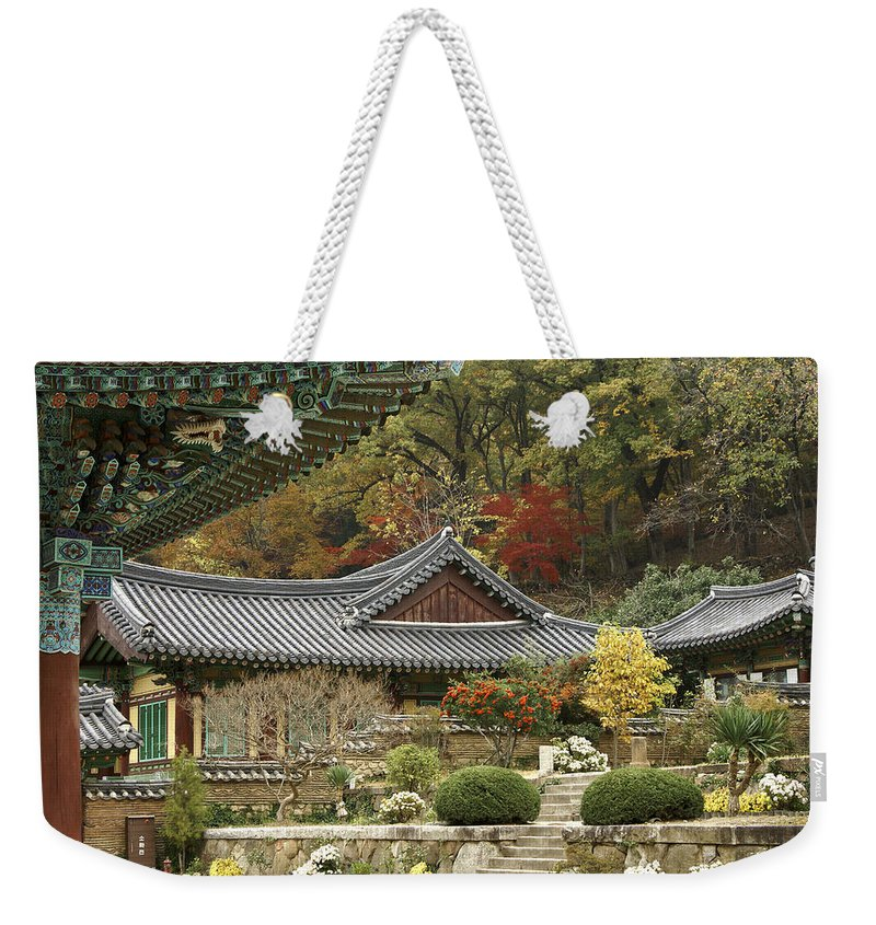Korea Weekender Tote Bag featuring the photograph Seonamsa In Autumn 4 by Michele Burgess