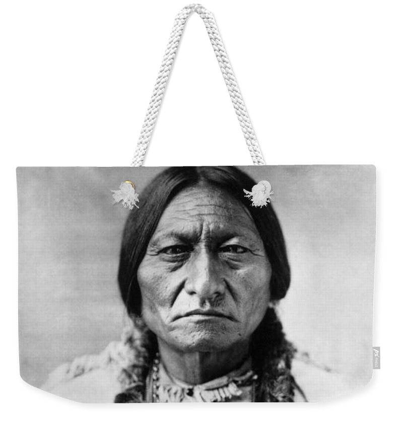 19th Century Weekender Tote Bag featuring the photograph Sitting Bull 1834-1890. To License For Professional Use Visit Granger.com by Granger