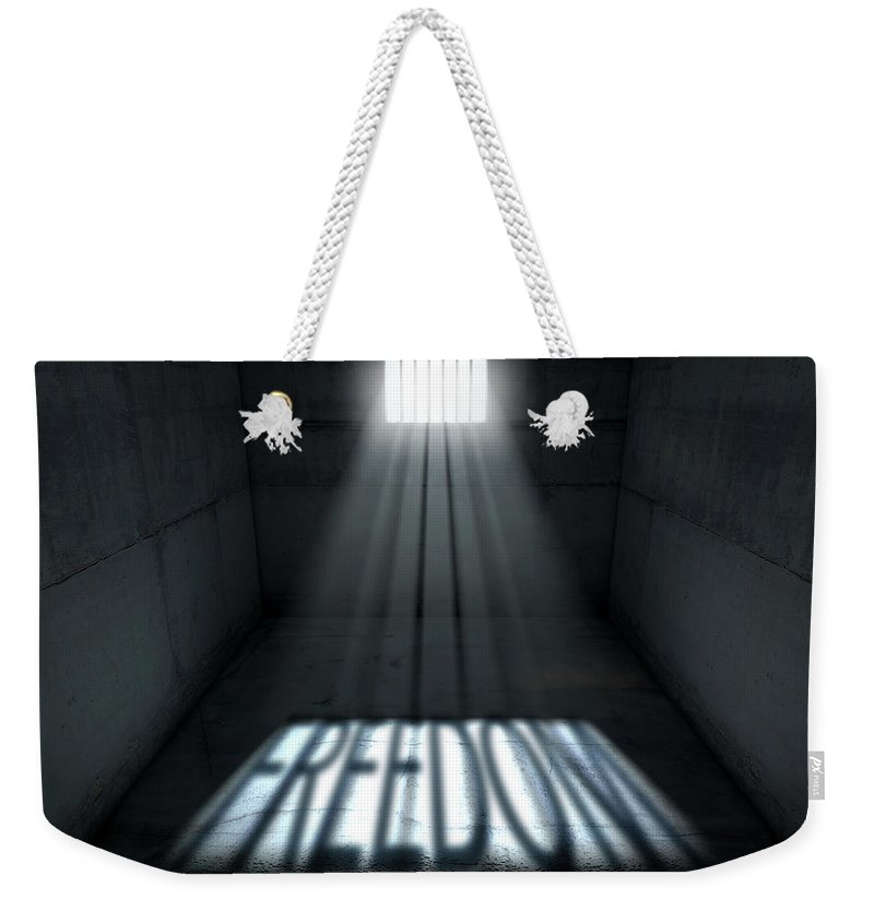 Freedom Weekender Tote Bag featuring the digital art Sunshine Shining In Prison Cell Window by Allan Swart