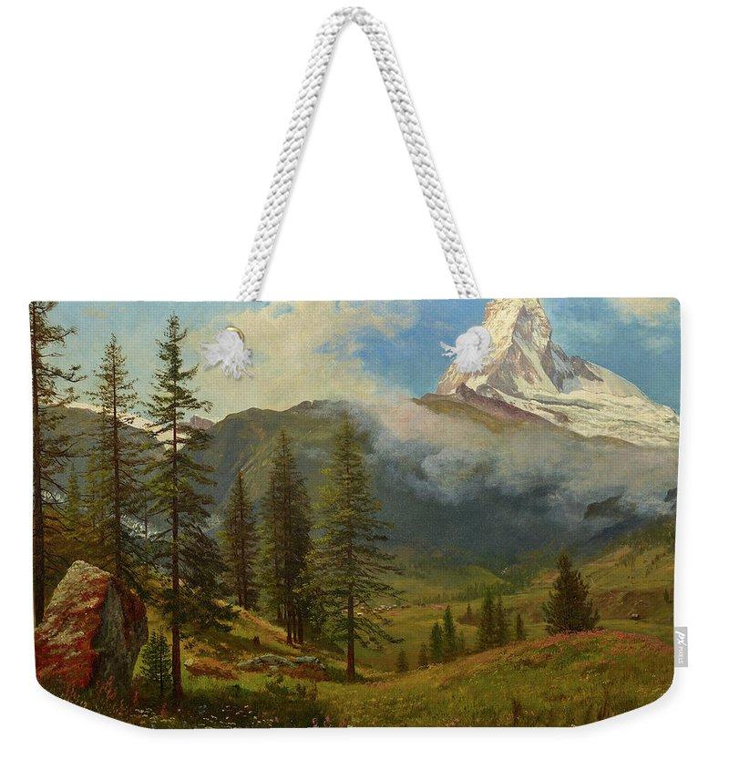 Matterhorn Weekender Tote Bag featuring the painting The Matterhorn by Albert Bierstadt