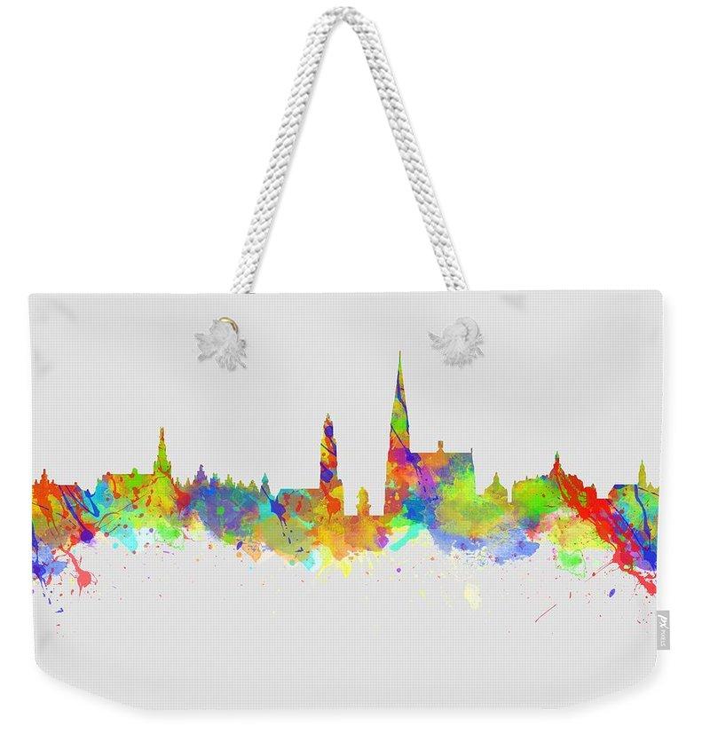 Antwerp Weekender Tote Bag featuring the photograph Watercolor Art Print Of The Skyline Of Antwerp In Belgium by Chris Smith