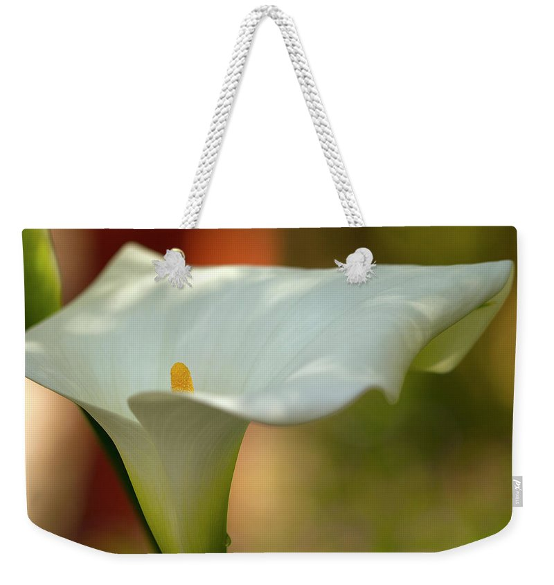 Calla Weekender Tote Bag featuring the photograph White Calla 4 by Heiko Koehrer-Wagner